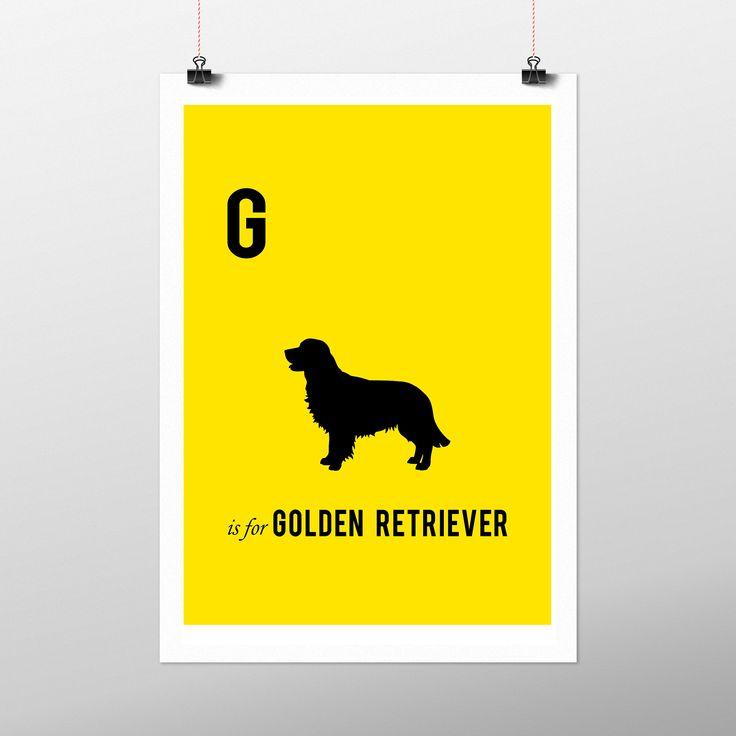 Quadro G is for Golden Retriever. Disponível com a moldura preta ou branca.