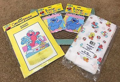 Sesame Street Baby Shower Centerpiece Elmo Cookie Monster Banners Cover Vintage