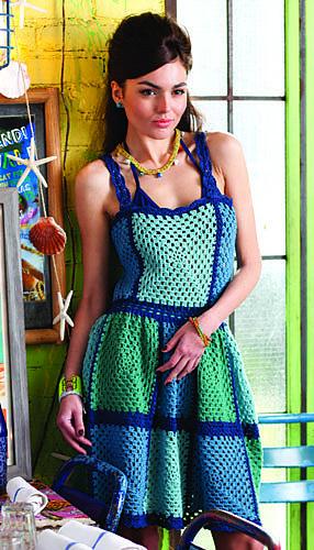 blue granny square crochet dress
