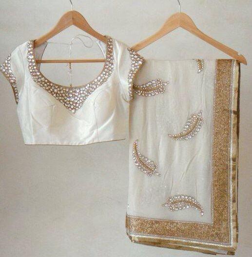 Kundan Work on White Georgette Saree by Mitan Ghosh