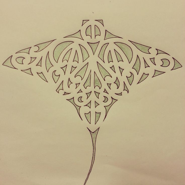 Maori whai / ray / stingray tattoo design featuring kowhaiwhai / koru detail.  art / drawing / ta moko / symmertical / symmetry
