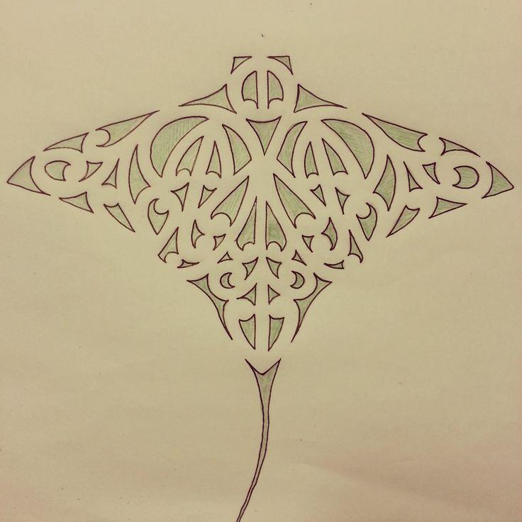 Maori whai / ray / stingray tattoo design featuring kowhaiwhai / koru detail.  art / drawing / ta moko / symmertical / symmetry