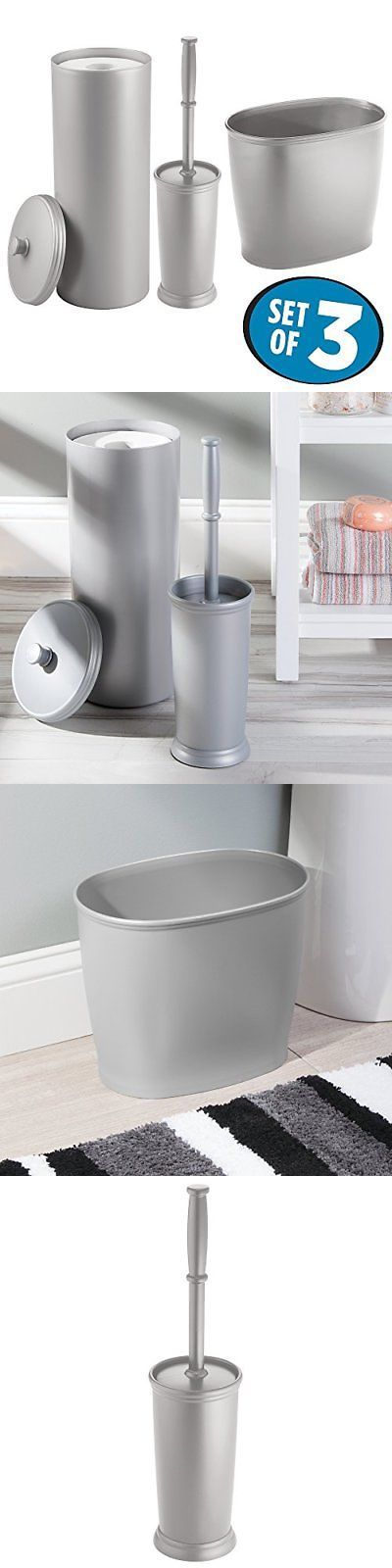 Toilet Brushes and Sets 66723: Mdesign Toilet Paper Roll Holder, Bowl Brush, Wastebasket Trash Can For New -> BUY IT NOW ONLY: $35.69 on eBay!