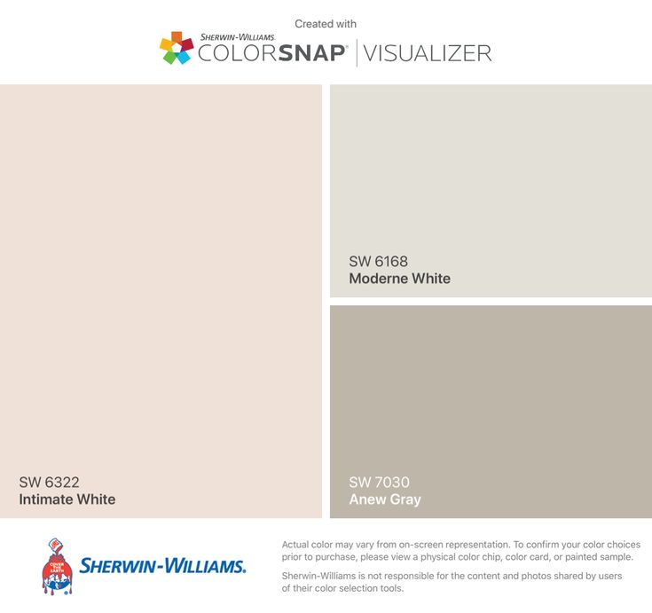 I found these colors with ColorSnap® Visualizer for iPhone by Sherwin-Williams: Intimate White (SW 6322), Moderne White (SW 6168), Anew Gray (SW 7030).