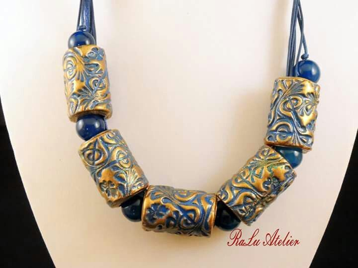 Polymer clay tube necklace with round agate beads
