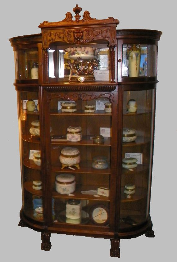 Antique Victorian Oak China Cabinet Curio Claw Feet Ebay