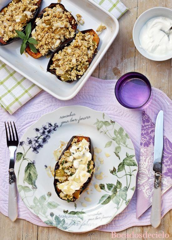 Bocadosdecielo: berenjenas con bulgur, yogurt y chermoula   – Recetas
