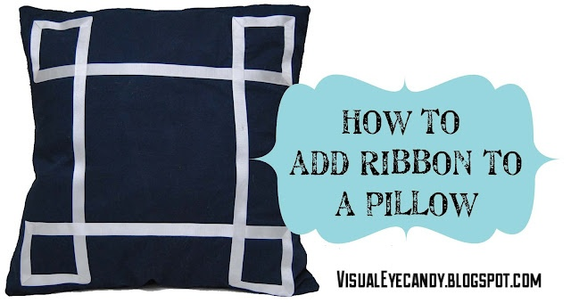 good idea for throw pillows on couch, or maybe accent pillows on bed: Eye Candy, Crafts Ideas, Add Grosgrain, Visual Eye, Accent Pillows, Ribbons Embellishments, Throw Pillows, Grosgrain Ribbons, Diy Pillows