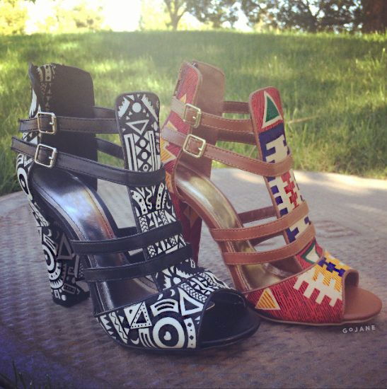 Geometric Tribal Open-Toe Heels