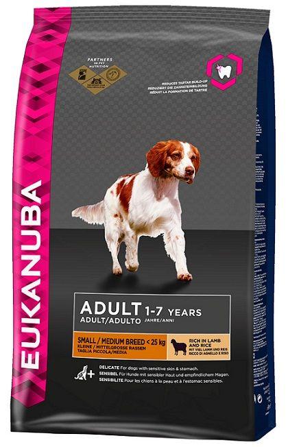 Корм для собак мелких и средних пород Еукануба Эдалт Смолл/Медиум ягненок/рис, пак. 1кг