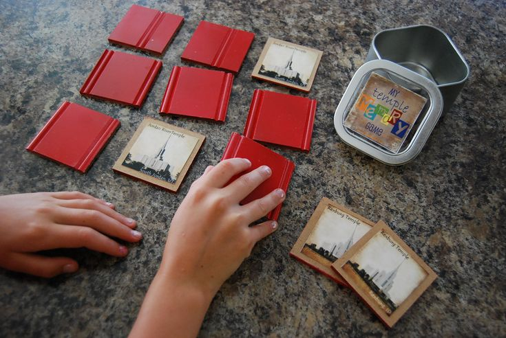 """Temple memory game.  Church quite game for the kids.  Fantastic Super Saturday Craft Idea.  Kit includes 10 2"""" square bead board pieces, print with six temples to choose from, tin for holding pieces and sticker. $7.95"""