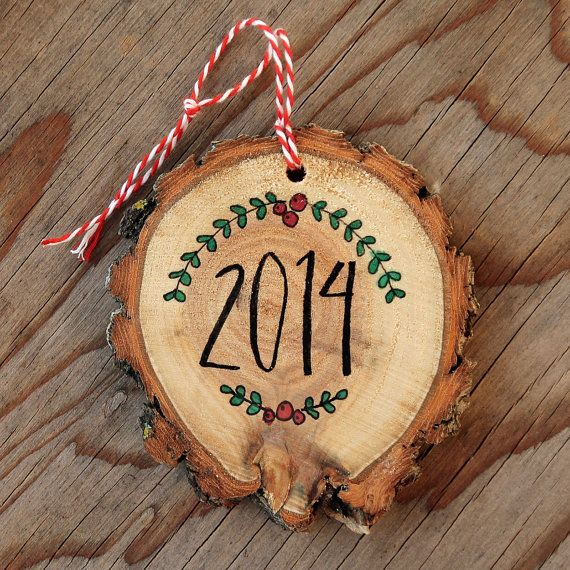 Natural Wood Slice 2014 Christmas Ornament from Itty Bitty Bunnies