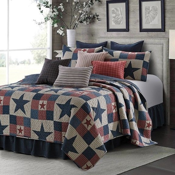 Farmhouse Star Printed Quilt Set Barn Country Patchwork Primitive Rustic Grey Unbranded Country Quilt Sets Bedding King Quilt Sets King Quilt Bedding