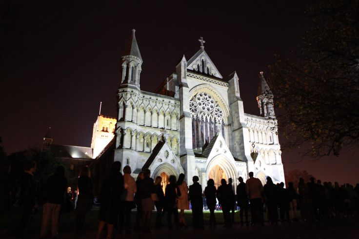 A lovely image of St Albans Cathedral at night #SAFW14