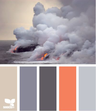 lava tones - very unique color inspiration! The boy and I think a grey or two should be swapped out with a green and/or a blue maybe.. Or maybe a goldish color..