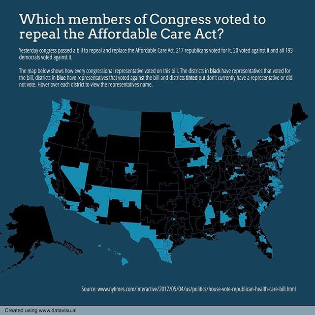 125/365 Which members of Congress voted to repeal and replace the Affordable Care Act? #everyday #congress #house #republican #repealandreplace #repealaca #affordablecareact #aca #obamacare #trumpcare #districts #trump #paulryan #healthcare #health #healthinsurance #data #dataviz #datavisual #datavisualization #chart #graph #map #design #visual #infographic
