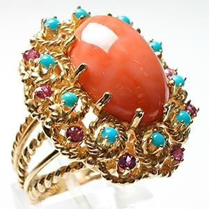 vintage pink coral, turquoise and pink sapphire cocktail ring in 14k gold