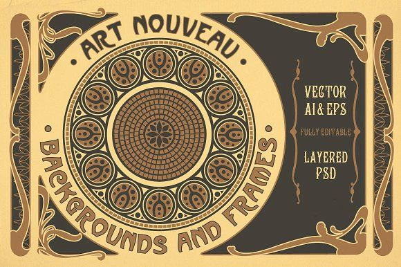 Art Nouveau Backgrounds and Frames by Wing's Art on @creativemarket