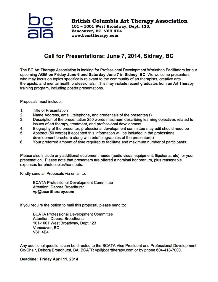 Call for Pro D Workshop Facilitators for BCATA AGM and conference June 6&7/14 Sidney, BC #arttherapy @prezBCATA