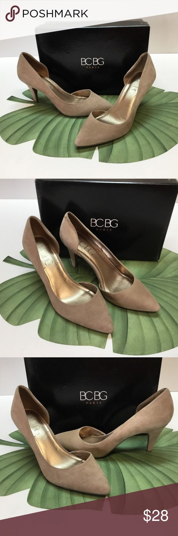 Beautiful Suede Leather Neutral Heels. BCBG I usually ship in 24 to 48 hours.  These beautiful leather suede, neutral pumps will accessorize so many of your outfits.  Size 7.50 M.  Heel height is 3.00 inches.  Nice padded footbed.  Comes in original box.  Hardly worn.  Very Good Condition. BCBG Shoes Heels