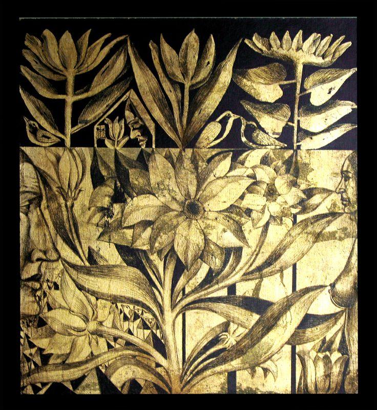 Foita metalica aurie gravata/ Engraved golden metallic foil
