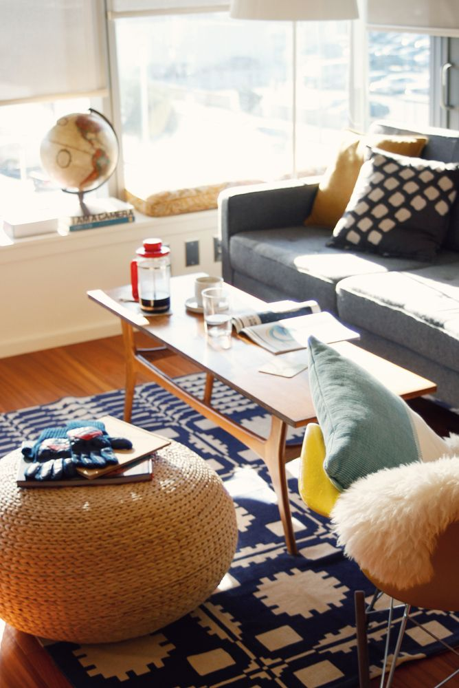 sofa, coffee table, pillows