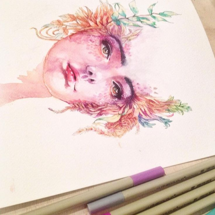 An ink and watercolour painting of the Greek goddess Gaea, painted by Hannah Rose Shaw. See more at www.theartofhannahroseshaw.co.uk.