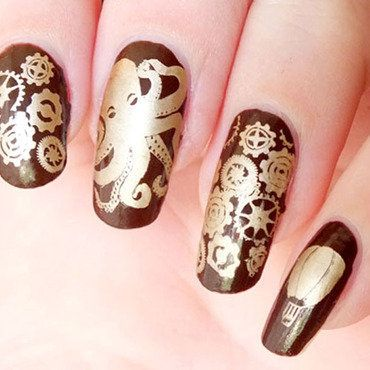 Steampunk nail-art nail art by Tribulons