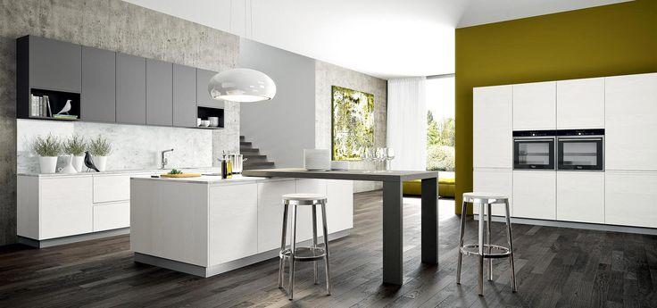Cucina Moderna - Wega    Finitura laccato a poro aperto e laccato vulcano opaco | Piano in marmo di Carrara e impiallacciato rovere grigio  http://www.arredo3.it/cucine-moderne/cucina-moderna-wega/