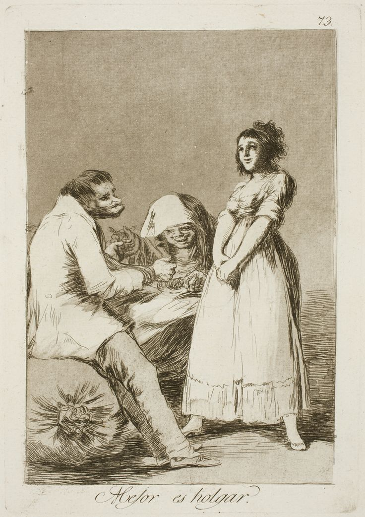 "Francisco de Goya: ""Mejor es holgar"". Serie ""Los caprichos"" [73]. Etching, aquatint, drypoint and burin on paper, 213 x 149 mm, 1797-99. Museo Nacional del Prado, Madrid, Spain"