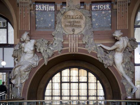 Art Nouveau Statues of Two Women in Railway Station, Prague, Czech Republic