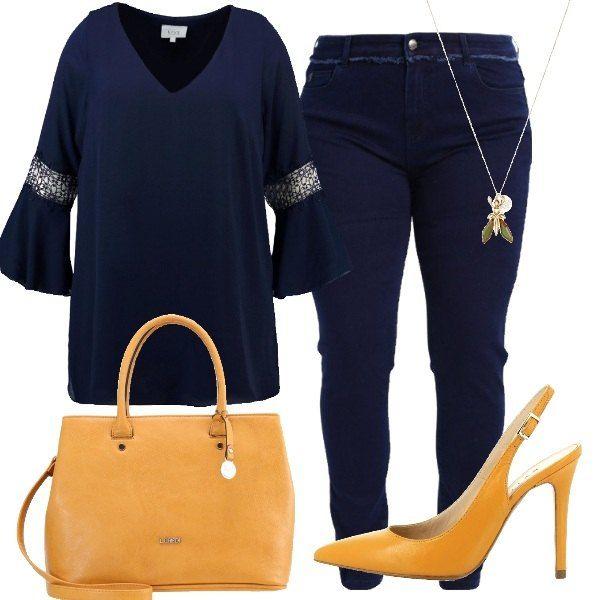 Total look da donna composto da tunica blu scuro con scollo a v profondo e jeans slim fit blu scuro a vita alta. Completo con una chanel in pelle con tacco a spillo a punta, borsa a mano senape in eco pelle con chiusura a cerniera e collana lunga in metallo e plastica.