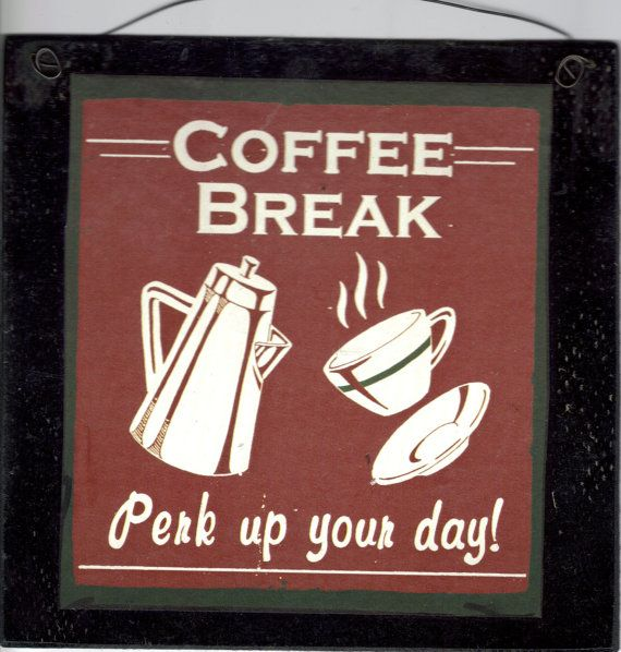 Wood Country KITCHEN COFFEE Sign Perk Up Your Day Retro