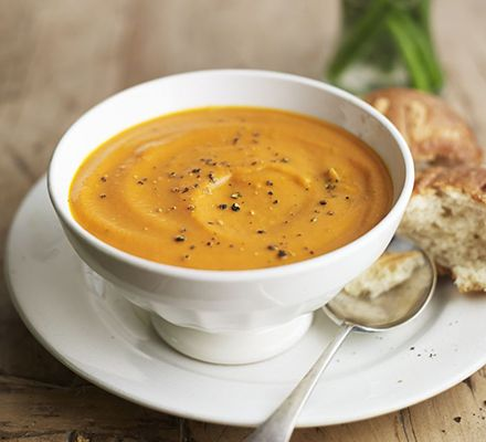 Carrot & tomato soup. A creamy vegetable soup flavoured with bay and natural sweetness from the carrots