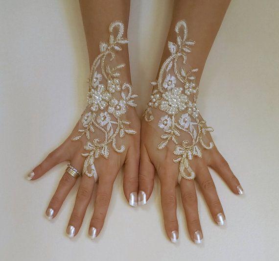 Or Ivoire ou ivoire gants de mariage de cadre en par GlovesByJana