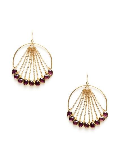 Gold Chain & Purple Open Circle Drop Earrings by Isharya on Gilt.com