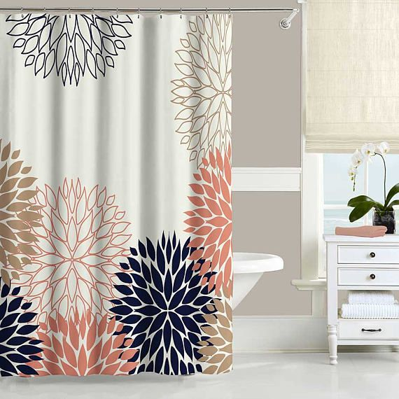 Floral Shower Curtain Set Bath Mat Dahlia Flower Coral Pink Navy Blue White Tan Bath Curtain Fabric Shower