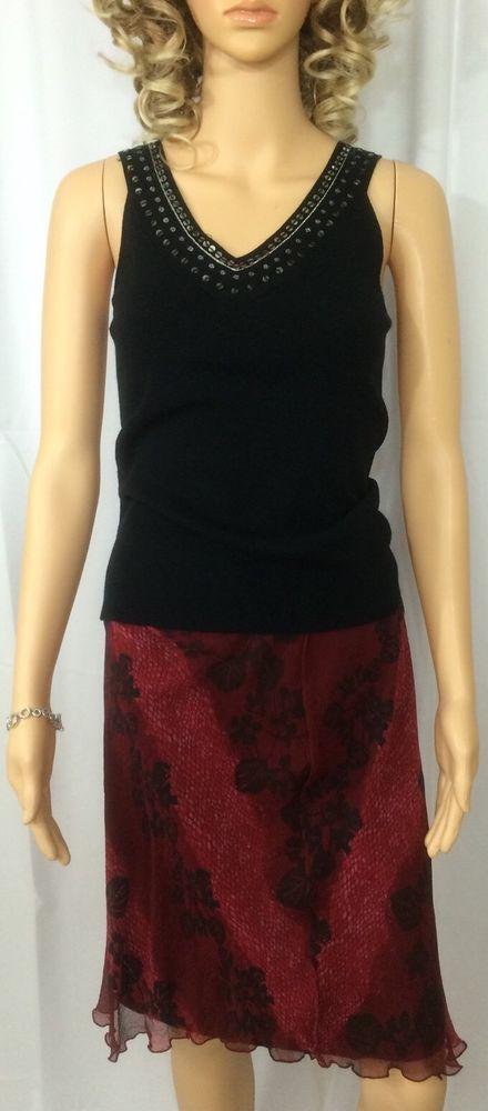 VTG HILLARD & HANSON 100% Silk Lined Skirt Red Brown Floral & Black Top XS/S  | eBay