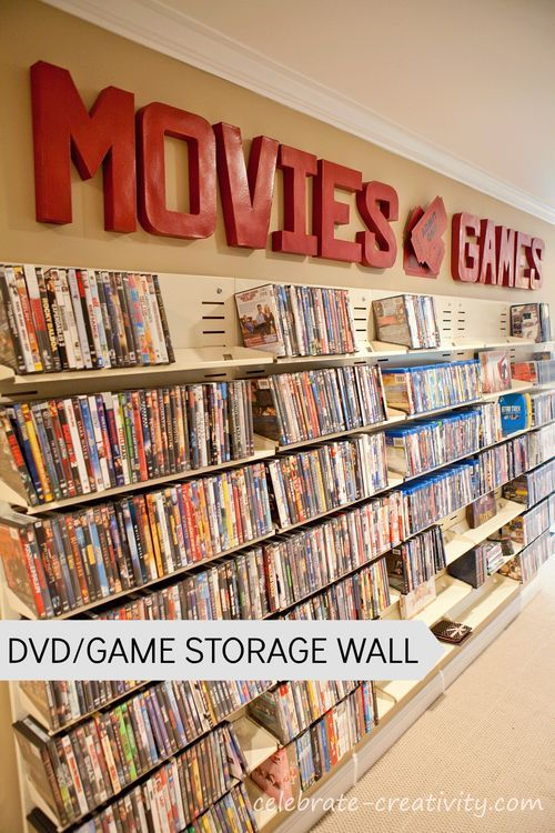 DVD/Video Game Storage Wall.  A wasted basement aisle is transformed into fun, usable space and storage.