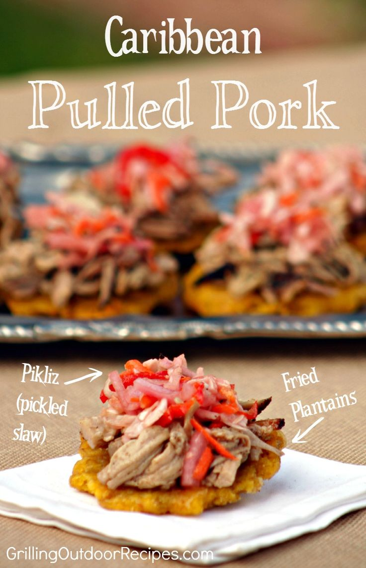 Caribbean Pulled Pork on Crispy Fried Plantains - I took inspiration from a traditional Haitian recipe for Griot (Griyo) which is pork shoulder that is deep fried and then braised in citrus juices and habanero chile (similar to a Cuban mojo). #contest