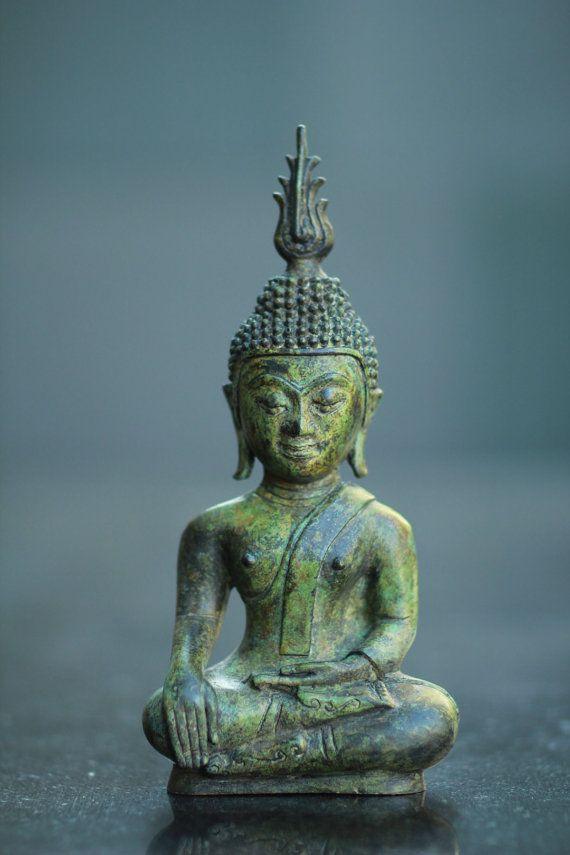Modern Art Earth Witness Buddha Bronze Statue  by BLINGNKING