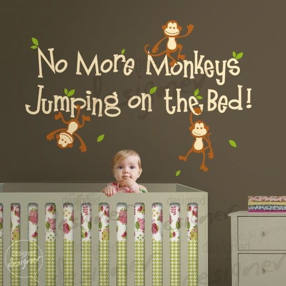 Monkey wall decal - nursery wall decal- No More Monkeys Jumping On The Bed quote - home decor- Wall sticker -dd1028 on Etsy, $58.00