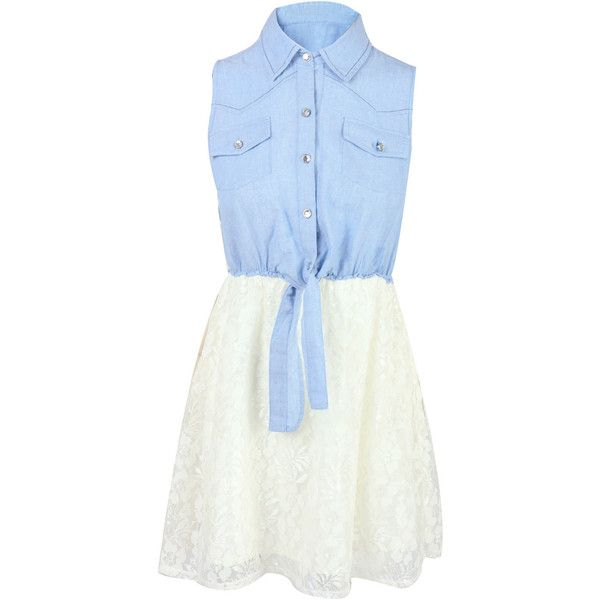 Denim Lace Denim Skater Dress ($23) found on Polyvore