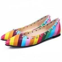 women shoes 2015 rainbow shoes flat shoes genuine leather Rivet pointed shallow mouth boat shoes X0374