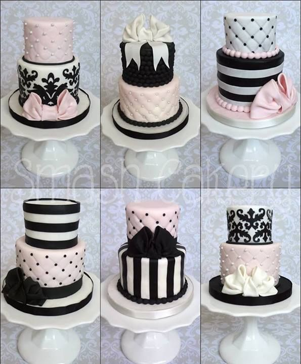 Pink and black cakes by Smash Cakery