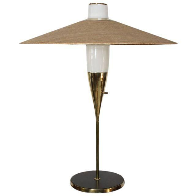 Rare Brass and Glass Table Lamp by Raymond Loewy for Stiffel