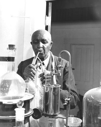George Washington Carver (1864?-1943). Prominent African-American scientist and inventor. Born into slavery in Missouri. He became one of the most prominent scientists and inventors of his time, as well as a teacher at the Tuskegee Institute. He devised over 100 products using the peanut. His research into alternative crops, such as peanuts, soybeans and sweet potatoes, also aided nutrition for poor farm families and as a source of other products to improve their quality of life.