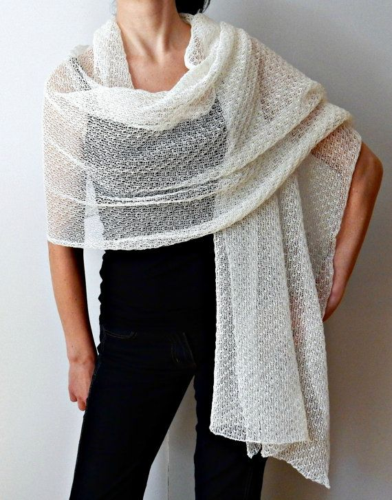 Shawl Ivory Knit Lace Bridal Shawl Linen scarves wraps White Linen Wraps Shawls Womens Scarves Knit Scarf Bridal shrug Summer  Material :