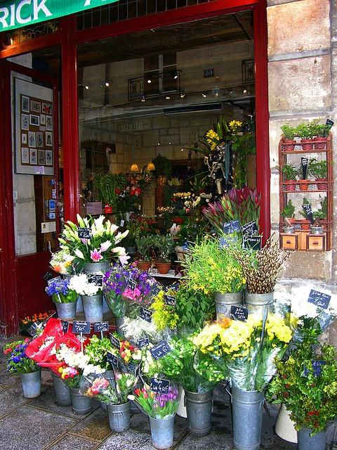 A flower shop in Paris.