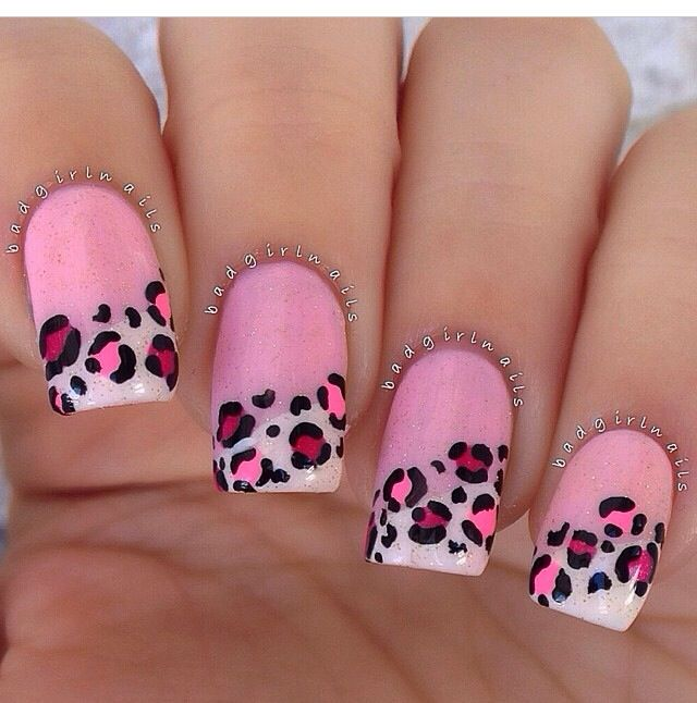 I love this design #pink #frenchtip #leopard #nails